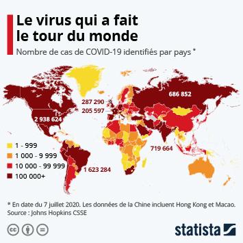 Infographie - pays ou des cas infection au coronavirus ont ete confirmes et nombre de cas