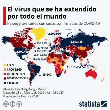 Infografía - Países con casos del coronavirus COVID-19