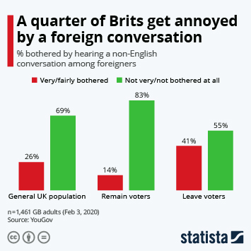Infographic - share of bothered by hearing a non-English conversation