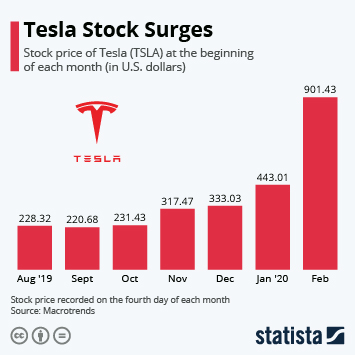 Infographic - tesla stock price over 900