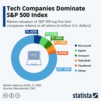 Infographic - tech companies highly valued in sp 500