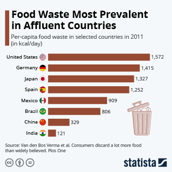 Infographic - food waste by consumers selected countries