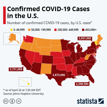 Image result for Johns Hopkins Confirmed cases of COVID-19