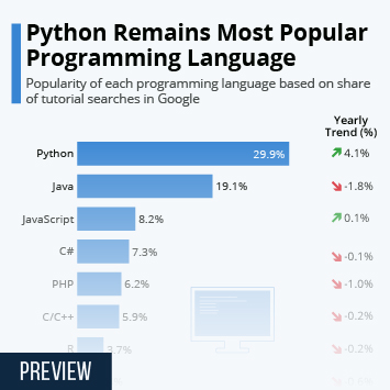 Infographic - most popular programming languages