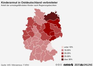 Infografik: Kinderarmut in Ostdeutschland verbreiteter | Statista