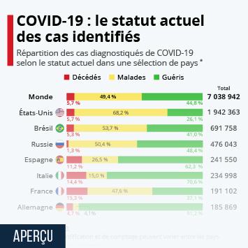 Infographie - coronavirus covid 19 repartition des cas par statut selon les pays deces malades guerisons