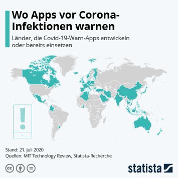 Infografik: Wo Apps vor Corona-Infektionen warnen | Statista