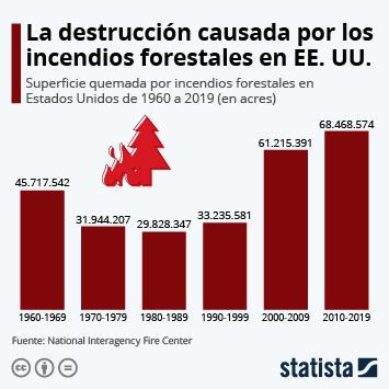 Infografía: La superficie quemada en los incendios forestales de Estados Unidos | Statista
