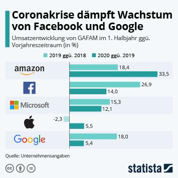 Link zu Coronakrise dämpft Wachstum von Facebook und Google Infografik