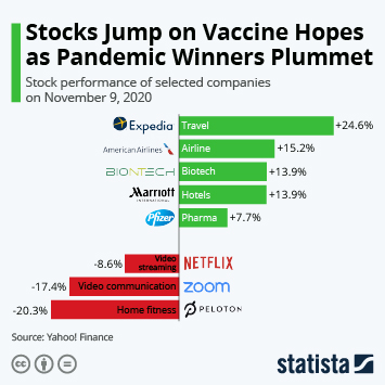 Link to Stocks Jump on Vaccine Hopes as Pandemic Winners Plummet Infographic