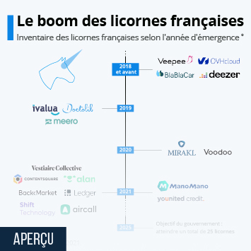 """Infographie: Les licornes """"made in France"""" 