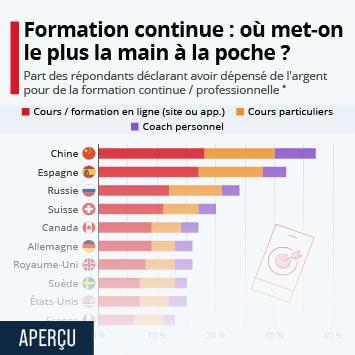 Lien vers La formation professionnelle en France Infographie - Formation continue : où met-on le plus la main à la poche ? Infographie