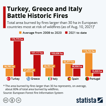 Infographic: Turkey, Greece and Italy Battle Historic Fires   Statista