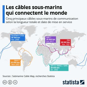 Lien vers Internet : ces câbles sous-marins qui connectent le monde Infographie