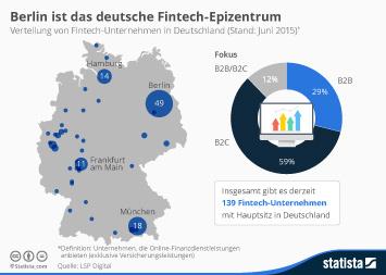 Infografik - Verteilung von Fintech Unternehmen in Deutschland