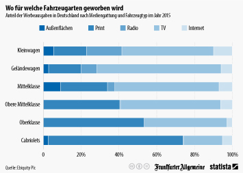 Infografik - Anteil der Werbeausgaben in der Autowerbung in Deutschland nach Mediengattung und Fahrzeugtyp