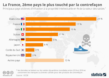 Infographie - pays victimes infraction contrefacon