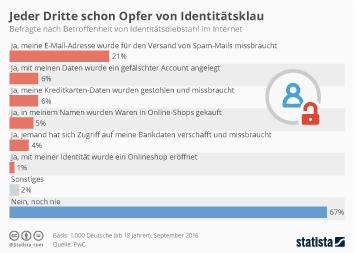 Infografik - Opfer von Identitätsdiebstahl im Internet