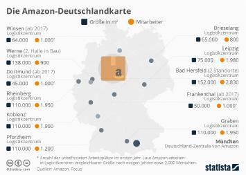 Infografik - Standorte von Amazon in Deutschland