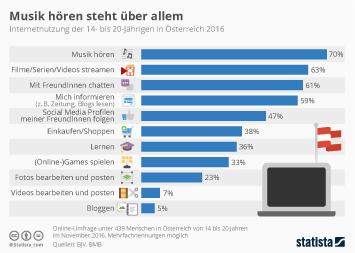 Infografik - Internetnutzung der 14- bis 20-Jährigen in Österreich