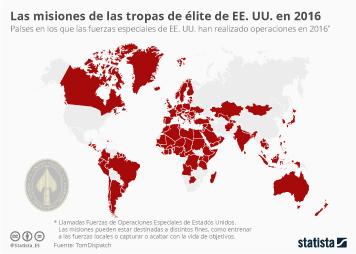 Infografía: Las fuerzas de élite de EE. UU. actuaron en el 70% de los países del mundo en 2016 | Statista