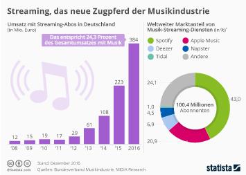 Infografik - Umsatz mit Musik Streaming in Deutschland