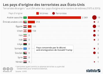 Infographie - Les pays d'origine des terroristes aux États-Unis