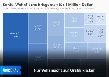 Infografik: So viel Wohnfläche kriegt man für 1 Million Dollar | Statista