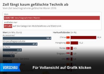 Infografik - Vom deutschen Zoll beschlagnahmte Produktfälschungen