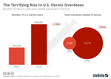 Opioid epidemic in the U.S. Infographic - The Terrifiying Rise In U.S. Heroin Overdoses