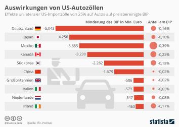 Bruttoinlandsprodukt (BIP) und Wirtschaftswachstum Infografik - Auswirkungen von US-Autozöllen