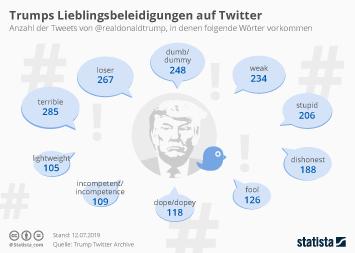 Twitter Infografik - Trumps Lieblingsbeleidigungen auf Twitter
