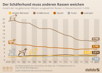 Haustiere in Deutschland Infografik - Der Schäferhund muss anderen Rassen weichen