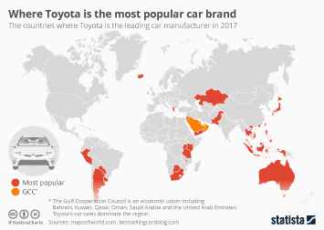 Toyota Infographic - Where Toyota is the most popular car brand