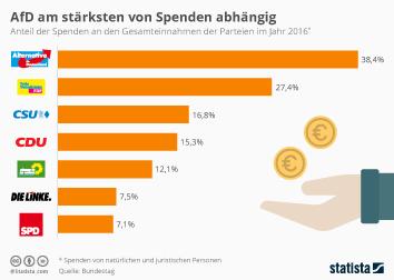 AfD am stärksten von Spenden abhängig