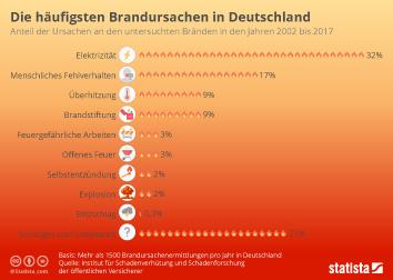 Unfallversicherung Infografik - Die häufigsten Brandursachen in Deutschland