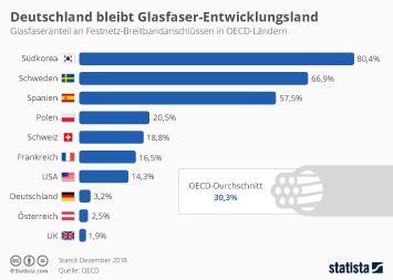 Breitbandinternet Infografik - Deutschland bleibt Glasfaser-Entwicklungsland
