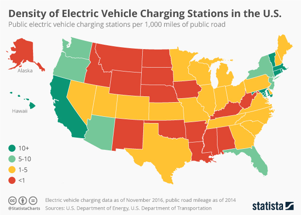 Chart Density Of Electric Vehicle Charging Stations In The United States Statista
