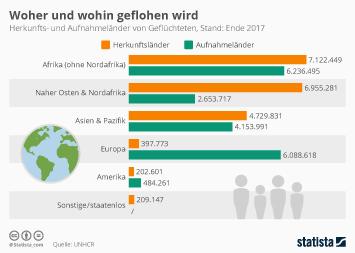 Flüchtlinge und Asyl Infografik - Woher und wohin geflohen wird