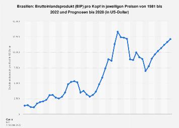 Bruttoinlandsprodukt (BIP) pro Kopf in Brasilien bis 2024
