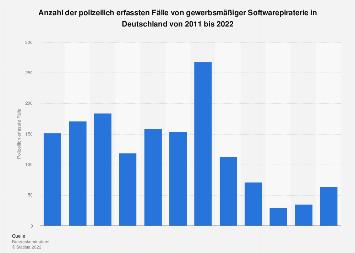 Polizeilich erfasste Fälle gewerbsmäßiger Softwarepiraterie in Deutschland bis 2017