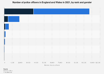 Number of police officers in England and Wales 2017, by gender and rank