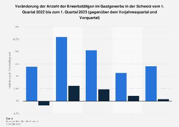 Erwerbstätige im Gastgewerbe in der Schweiz nach Quartalen bis Q3 2017