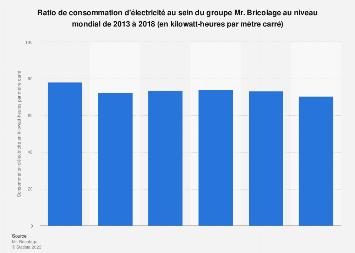 Mr. Bricolage : ratio de consommation d'électricité dans le monde 2013-2018