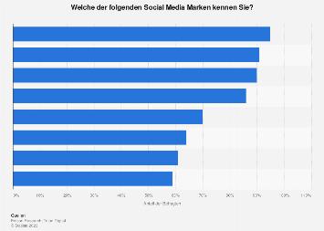Umfrage zur Bekanntheit von Social Media Marken in den USA 2019