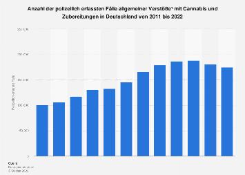 Polizeilich erfasste Fälle allgemeiner Verstöße mit Cannabis in Deutschland bis 2018