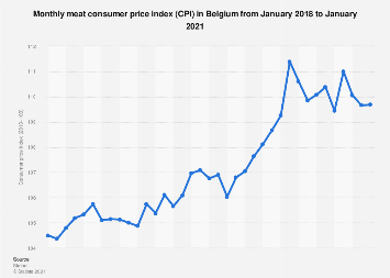 Monthly meat consumer price index (CPI) in Belgium 2016-2018