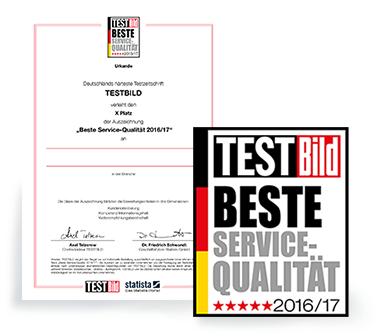 Testild-Award - Beste Service-Qualität 2016/17